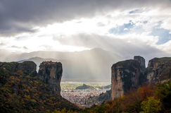 Meteora Rocks with Kalampaka town on the background, Greece Royalty Free Stock Photography