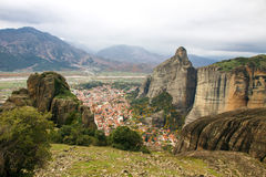 Meteora Rocks with Kalampaka town, Greece Royalty Free Stock Image