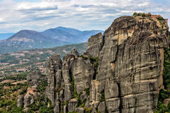 Meteora rocks and monasteries in Greece Stock Photo