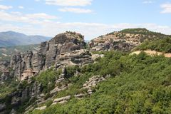 Meteora Rocks and Monasteries in Greece Royalty Free Stock Photo