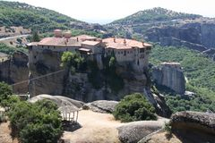 Meteora Rocks and Monasteries in Greece Stock Photo
