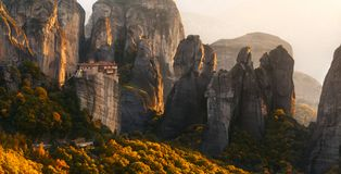 Meteora Rocks and Monastery in Greece stock photo