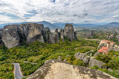 Meteora rocks and monastery in Greece Stock Images