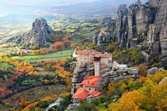Meteora Rocks and Roussanou Monastery, Greece Stock Photography