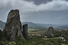 Meteora rocks from sandstone and conglomerate Royalty Free Stock Photo
