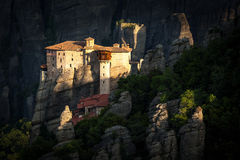 Meteora Roussanou Monastery at sunrise, Greece Royalty Free Stock Images