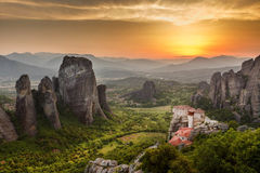 Meteora Roussanou Monastery at sunset, Greece Stock Images