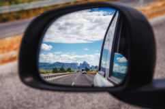 Meteora and Thessaly valley seen on the rearview mirror, Greece Stock Image