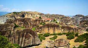 Meteora View, Greece. Landscape of a beautiful Meteora monastery in Kalambaka, Greece Royalty Free Stock Image