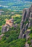 Meteoraen - viktiga steniga kloster som är komplexa i Grekland Arkivbild