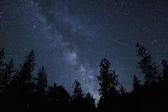 Meteoreldkulastrimmor till och med himlen arkivbild