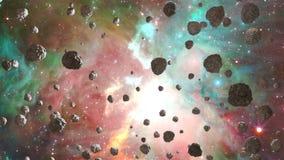 Meteoren die door nevel, Abstracte Loopable-Achtergrond vliegen royalty-vrije illustratie