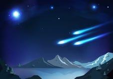 Meteorfeuerkugelphantasie-Zusammenfassungshintergrund, Nachtszene volles m stock abbildung
