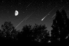 Meteoric shower. In the night Royalty Free Stock Photos