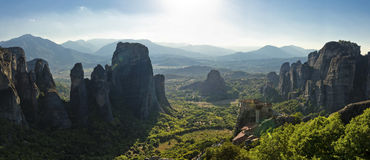 Meteoric view. A panoramic view of the Meteora churches, in Greece Stock Photos