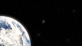 Meteoriet die snel in Kosmische ruimte naar Aarde hangen stock illustratie