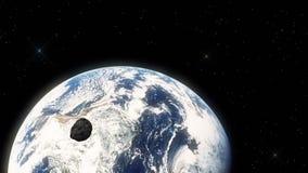 Meteoriet die snel in Kosmische ruimte naar Aarde hangen royalty-vrije illustratie