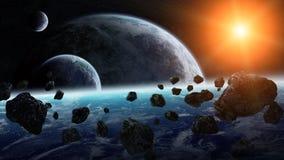 Meteorieteffect op planeten in ruimte vector illustratie