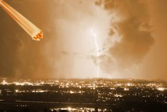 Meteorite. Hits the city during the storm royalty free stock photography