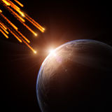 Meteorite. Shower on a planet Stock Images