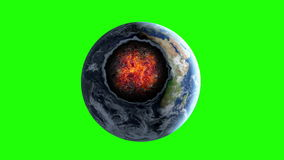 Meteorite, asteroid collision with the planet Earth. Fiery crater. Apocalypse. Green screen footage vector illustration