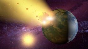 Meteorite che si schianta contro il pianeta Terra Fotografia Stock