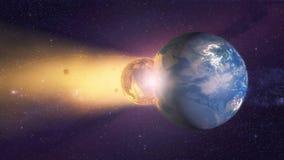 Meteorite che si schianta contro il pianeta Terra Fotografie Stock Libere da Diritti
