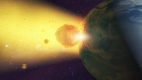 Meteorite che si schianta contro il pianeta Terra Immagini Stock Libere da Diritti