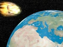 Meteorite che va alla terra - 3D rendono illustrazione di stock