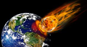 Meteorite. Collision planet Earth with enormous fiery meteorite. image planet by: Stokli, Nelson, Hasler Laboratory for Atmospheres Goddard Space Flight Center stock illustration