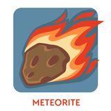 Meteorite cosmic body natural disaster space stone on fire. Natural disaster meteorite cosmic body space stone on fire vector explosion risk falling object vector illustration