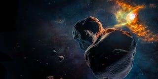 Meteorite in einem Weltraum stockfoto