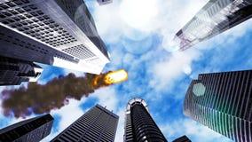 Meteorite flying over the city. 3D Rendering Stock Photo