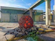 A meteorite hits the ground. 3d mixed media Royalty Free Stock Images