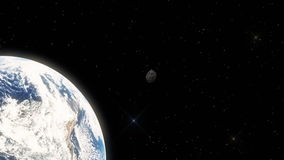 Meteorite Hovering Fast in Outer Space Towards Earth stock video