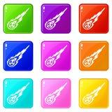 Meteorite icons 9 set Royalty Free Stock Images