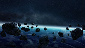 Meteorite impact on planet Earth in space Royalty Free Stock Photo
