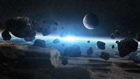 Meteorite impact on planet Earth in space Stock Photography