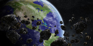 Meteorite impact on planet Earth in space Stock Image