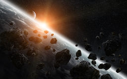 Meteorite impact on planet Earth in space Royalty Free Stock Image