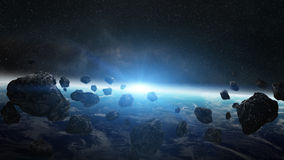 Meteorite impact on planet Earth in space Stock Photos