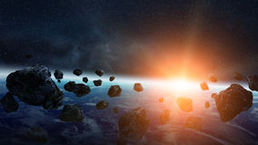 Meteorite impact on planet Earth in space Stock Photo