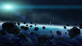 Meteorite impact on planet Earth in space Royalty Free Stock Photography