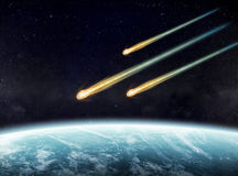 Meteorite impact on a planet in space. View of a planet from space during meteorite impact Stock Photography