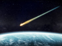 Meteorite impact on a planet in space Stock Photography
