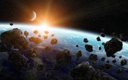 Meteorite impact on a planet in space Royalty Free Stock Image