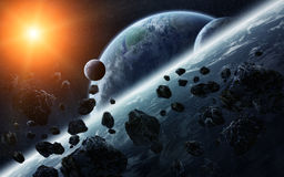 Meteorite impact on planets in space Royalty Free Stock Images