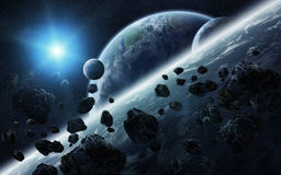 Meteorite impact on planets in space Stock Photos
