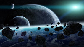 Meteorite impact on planets in space Stock Images