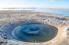Meteorite. Perfectly circular lake. Next  on earth royalty free stock images
